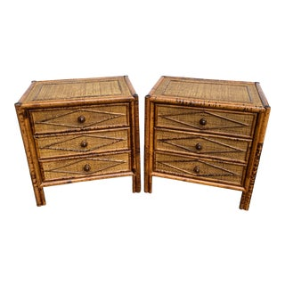 Mid Century Vintage Rattan Geometrical Nightstands - a Pair For Sale