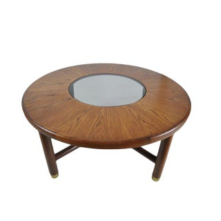 Vintage Mid Century Round Teak and Glass Coffee Table For Sale