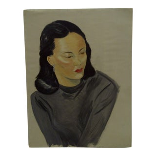 "1949 Mid-Century Modern Original Painting on Paper, ""Veronica"" by Tom Sturges Jr"