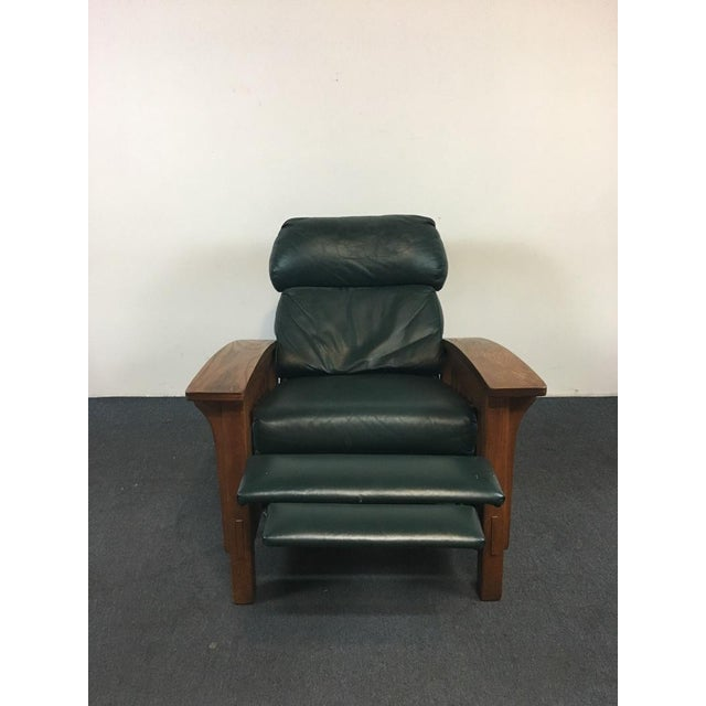 Mission Style Black Leather Upholstered Wood Recliner For Sale - Image 4 of 6