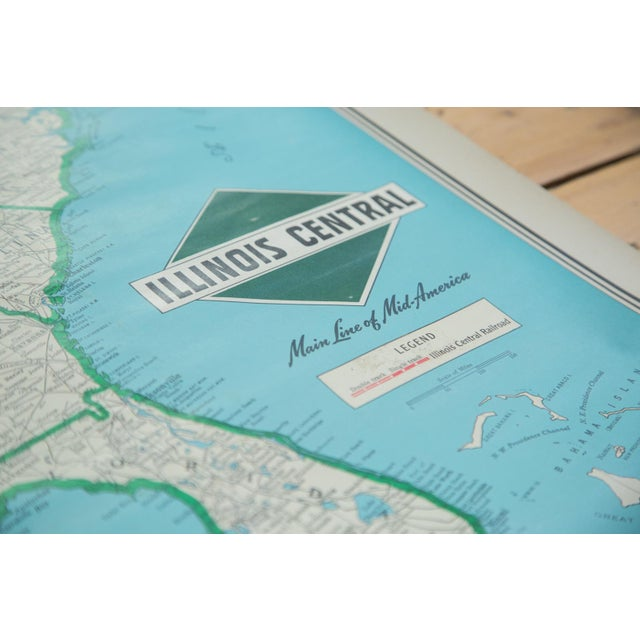 Vintage Illinois Central Railroad Pull Down Map For Sale In New York - Image 6 of 12