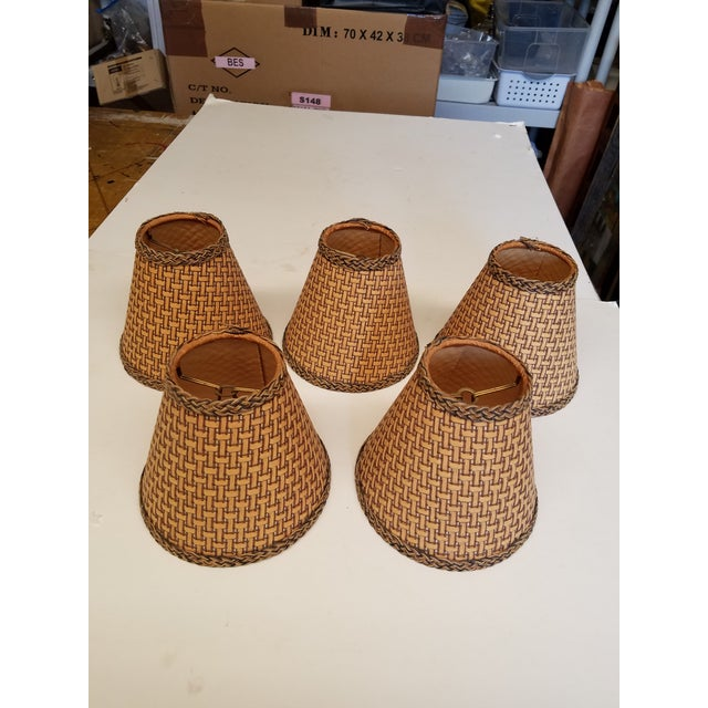 Wicker Chandelier Shades - Set of 5 For Sale - Image 4 of 4