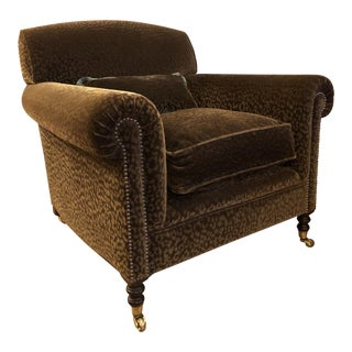 Modern George Smith Full Scroll Arm Chair For Sale