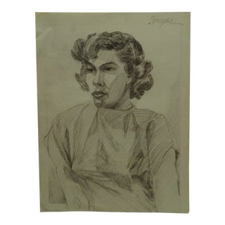 "1950 Mid-Century Modern Original Drawing on Paper, ""Serious Professional Woman"" by Tom Sturges Jr. For Sale"