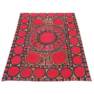 Suzani Embroidery Rug - 6′2″ × 8′5″ For Sale