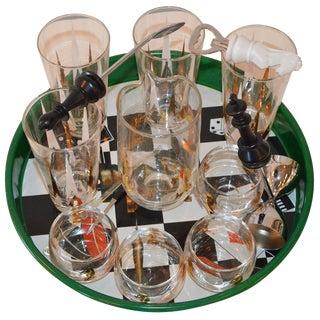 17 Piece Mid-Century Modern Chess Themed Bar Set