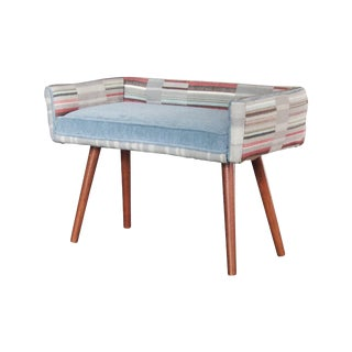 Studio Series: Vanity Size Stool in Gray Geometric With Ice Blue Seat For Sale