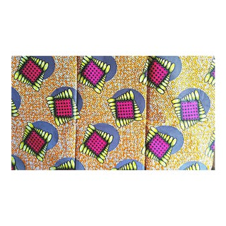 Orange Pink African Print Fabric - 6 Yards
