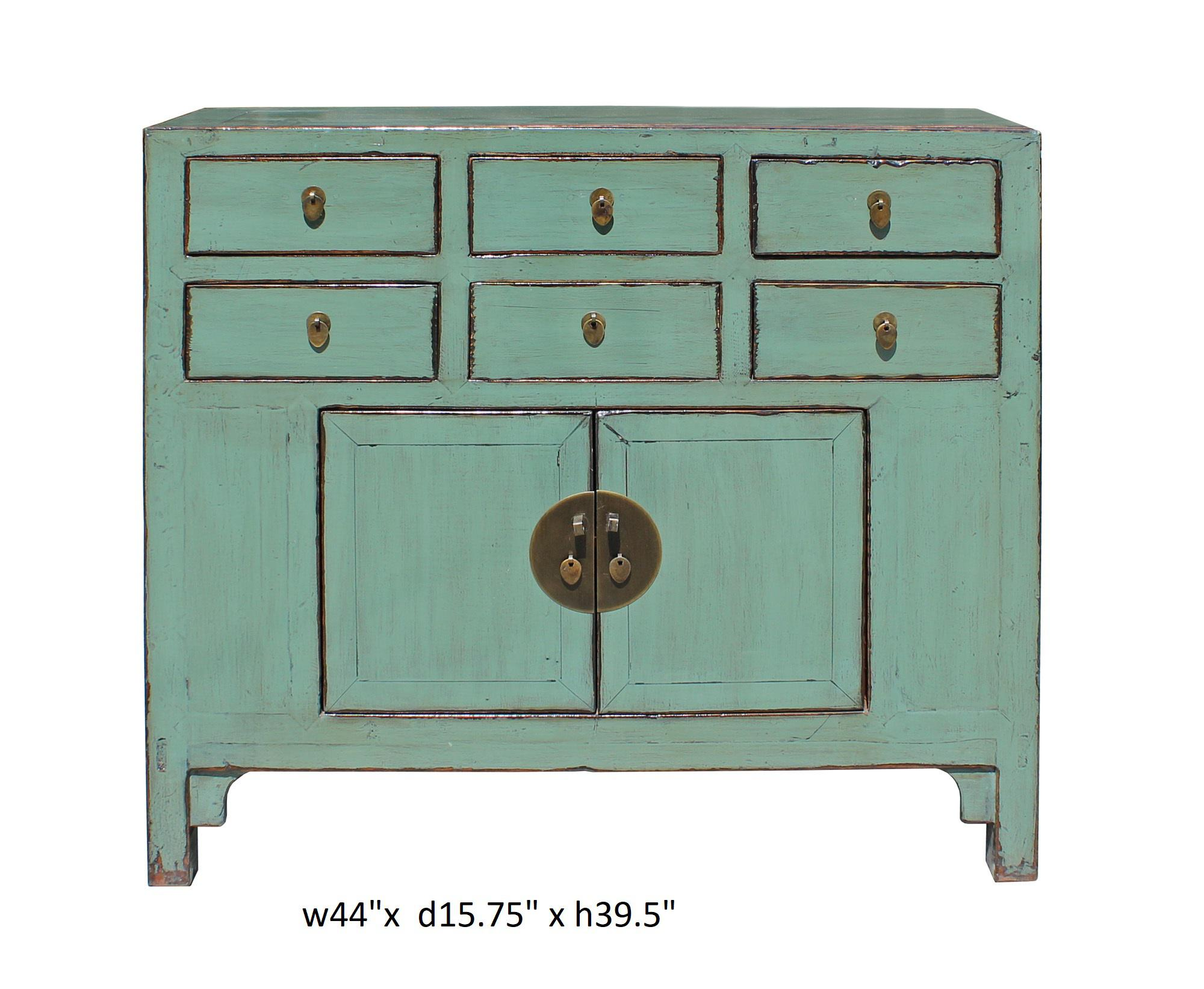 Chinese Turquoise Lacquer 6 Drawer Storage Cabinet   Image 7 Of 7