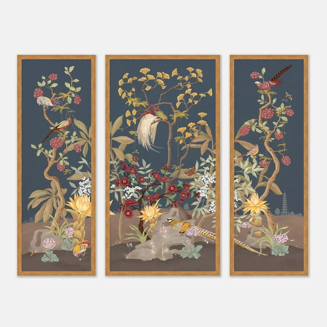 Forest & Pheasants by Allison Cosmos, Set of 3, in Gold Framed Paper, Large Art Print For Sale - Image 9 of 9