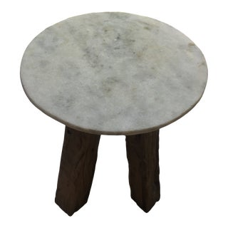 Anthropologie Marble-Top Side Table For Sale
