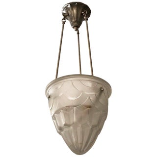 French Art Deco Pendant Chandelier Signed by Degue For Sale