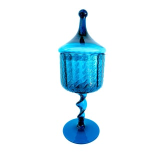 Vintage Empoli Teal Blue Glass Apothacary Jar For Sale