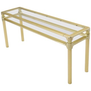 Solid Brass Profile Base Glass Top Mid-Century Modern Console Sofa Table For Sale