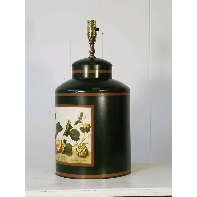 Hollywood Regency Painted American Tole Lamp by Jm Piers For Sale - Image 3 of 7
