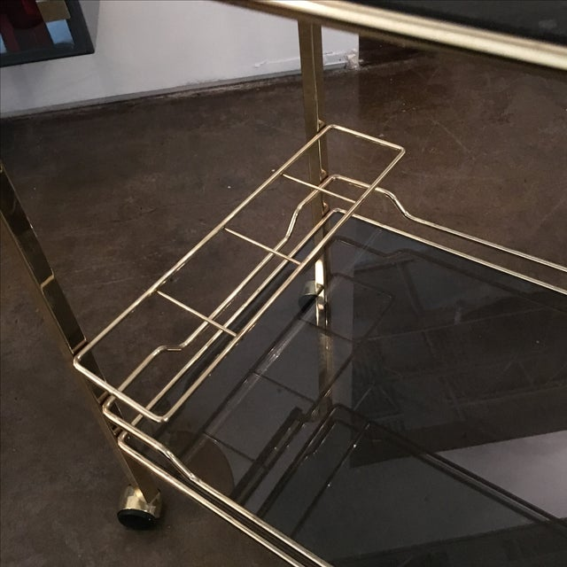 Brass with Smoke Glass Bar Cart - Image 7 of 7