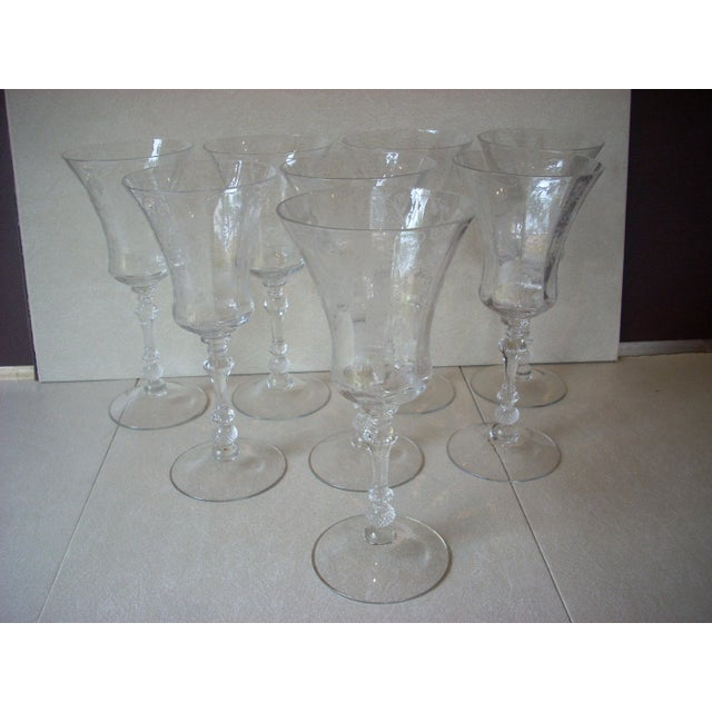 Crystal 1940s Etched Crystal Stems - Set of 8 For Sale - Image 7 of 7