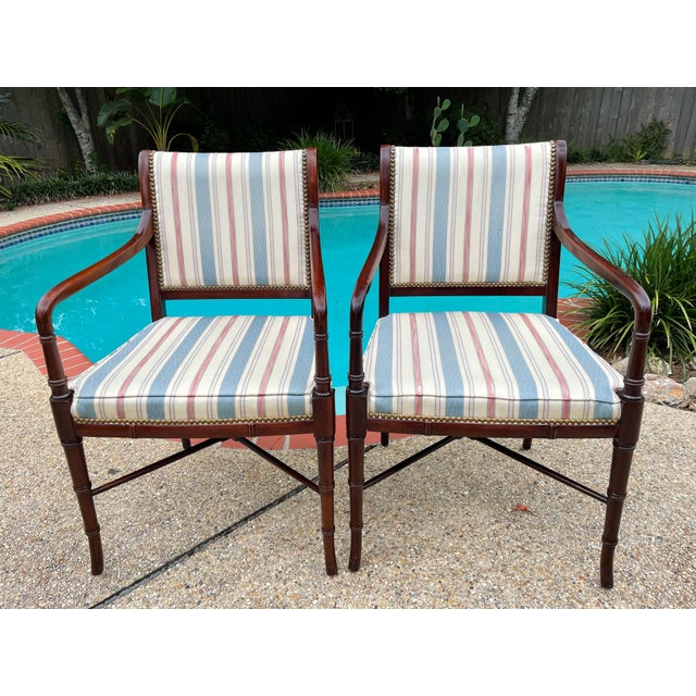 Hancock & Moore Sheridan Style Mahogany Accent Chairs - a Pair For Sale - Image 10 of 10