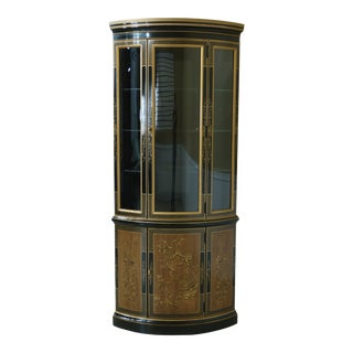 Drexel Chinoiserie Paint Decorated Bowed Glass Corner Cabinet For Sale