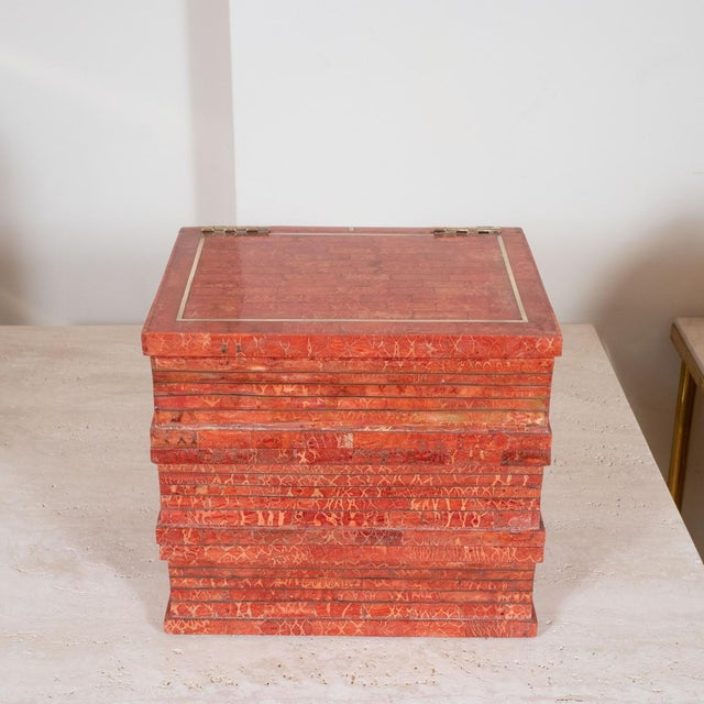 """Coral tessellated stone """"book"""" box attributed to Maitland Smith."""