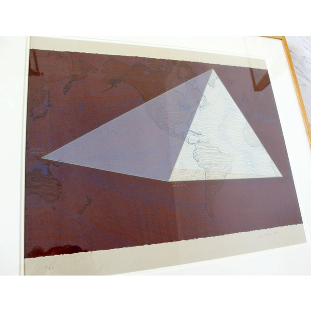 """1980s Abstract Framed Lithograph 5/50 """"Four Corners Project - World View"""" Print by David Barr For Sale - Image 4 of 10"""