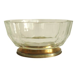 Mid Century Faceted Glass Serving Bowl on Silver Plate Base For Sale