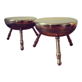 1960s Vintage Hollywood Recency Brass Asian Inspired Stools- A Pair For Sale