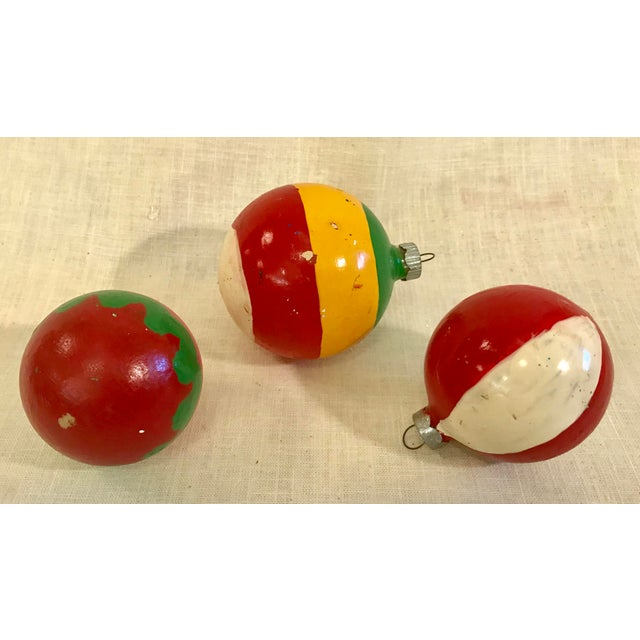 Cottage Vintage Glass Holiday Ornaments - Set of 3 For Sale - Image 3 of 7