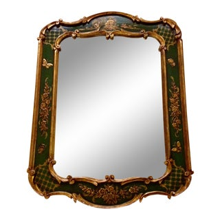 1970's Vintage Italian Chinoiserie Gold & Green Gilded Mirror For Sale