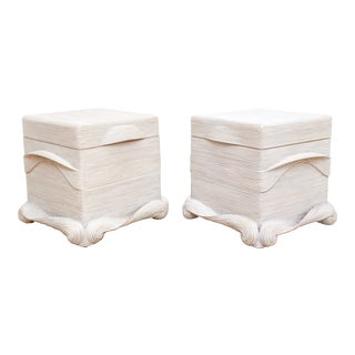 Pair of Trompe l'Oeil Pencil Reed Storage Chests- Betty Cobonpue Scultura Collection For Sale