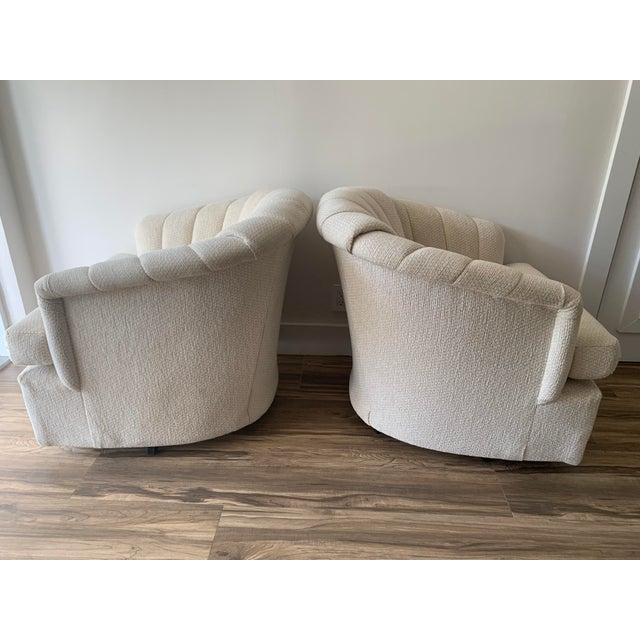 Textile Channel Back Club Chairs in the Manner of Kagan - a Pair For Sale - Image 7 of 13