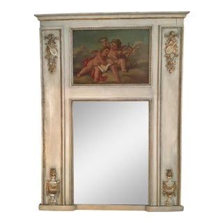 French Cherub Trumeau Mirror For Sale