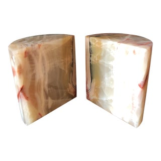 Large White & Pink Marble Bookends - a Pair For Sale