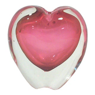 Murano Pink Heart Vase Paper Weight For Sale