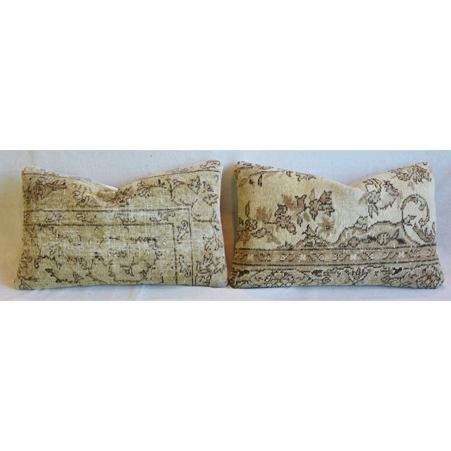 """Textile Antique Soumak Carpet Wool Feather/Down Pillows 26"""" X 16"""" - Pair For Sale - Image 7 of 13"""