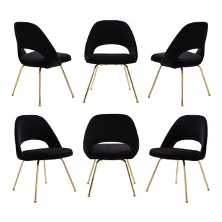 Saarinen Executive Armless Chairs in Noir Velvet, 24k Gold Edition - Set of 6 For Sale