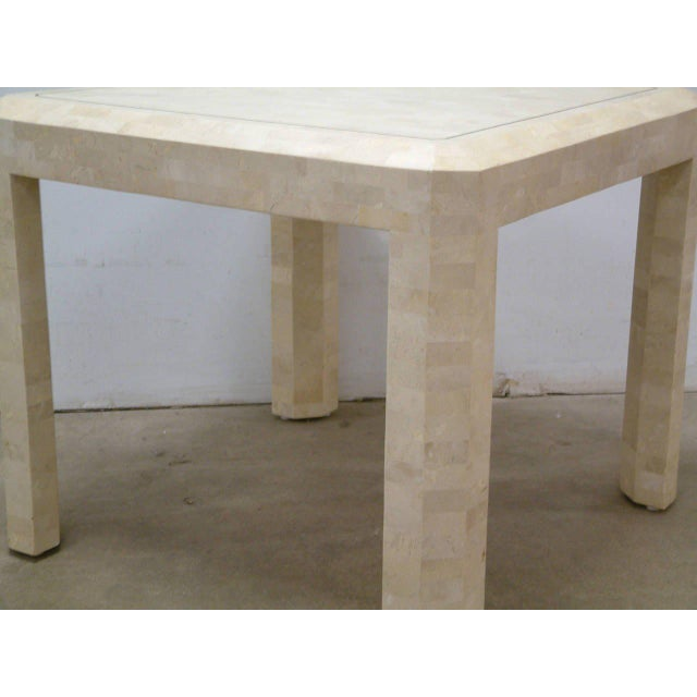 Cream Maitland Smith Brass and Tessellated Stone Table For Sale - Image 8 of 9