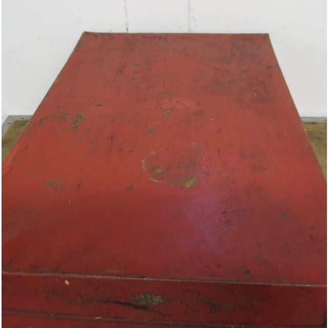 Mid 19th Century Antique Chinese Leather Trunk For Sale - Image 5 of 13