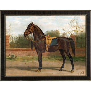 Wojko Queens Horse by Eerelman Framed in Italian Wood Vener Moulding For Sale