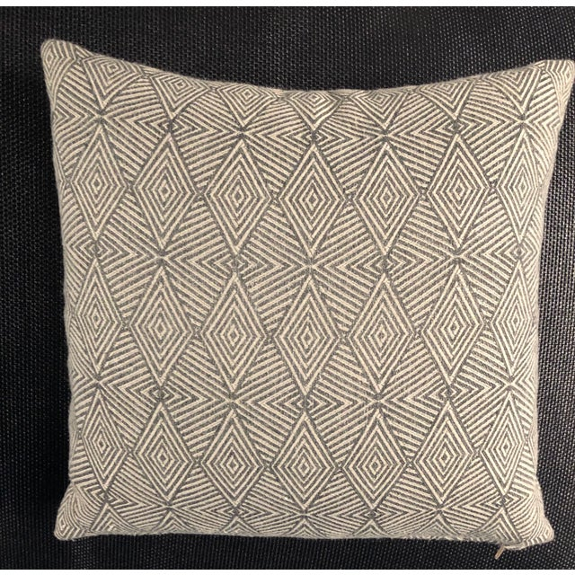 Boho Chic Modern Pillow/Carbon Triad Fabric For Sale - Image 3 of 3