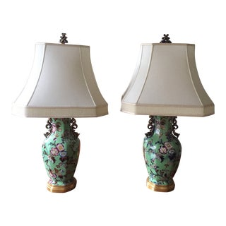 Early 19th Century Mason's Ironstone Vases and Covers Mounted as Lamps and Shades - a Pair For Sale