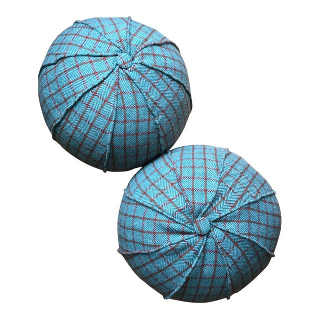 Round Holland & Sherry Wool & Down Feather Pillows- A Pair For Sale