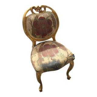 1960s Vintage Italian Gold Gilt Upholstered Chair For Sale