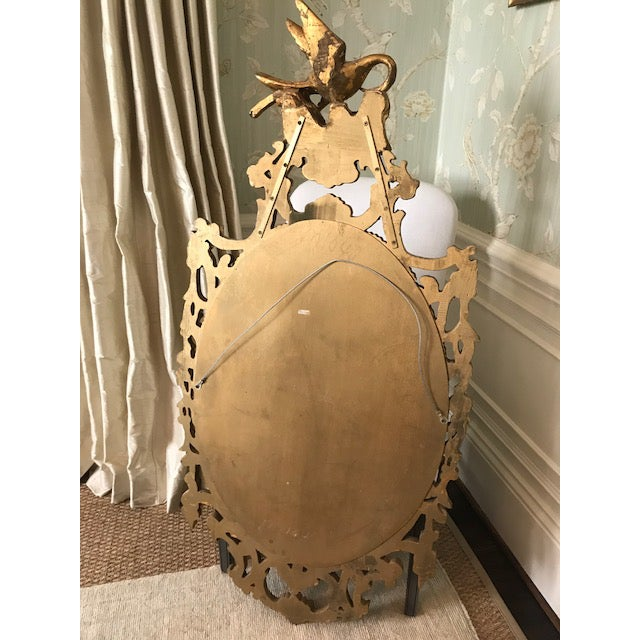 Rococo Ornate Carved Gilt-Wood Mirror For Sale - Image 4 of 9