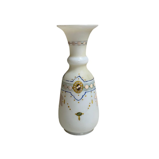19th Century Antique French Opaline Hand Painted Vase For Sale - Image 5 of 6