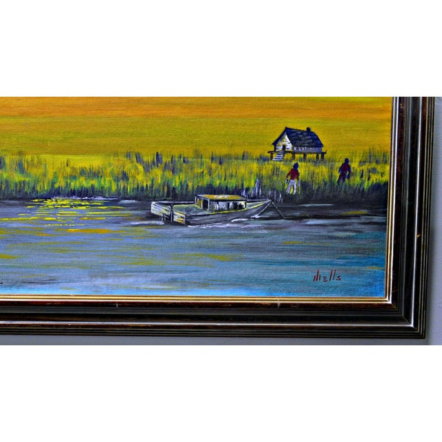 """Back home after a hard day"". an Asian inspired Impressionist landscape of calm lake at sunset. Oil on board, artistically..."