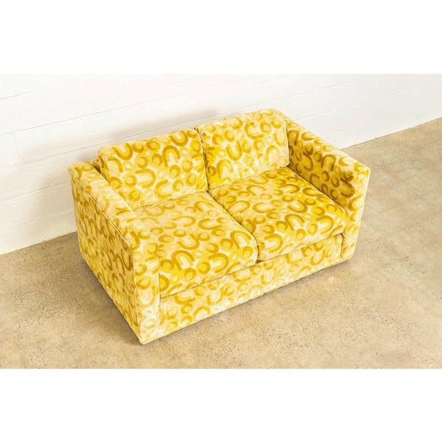 Textile Mid Century 1970s Yellow Loveseat and Lounge Chair For Sale - Image 7 of 12