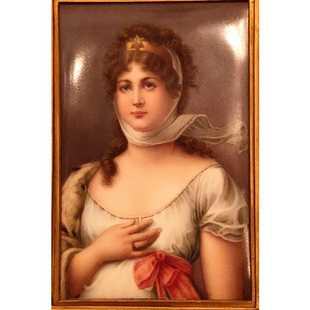 "Antique 19th Century Porcelain Portrait of Royal Bavarian Princess Queen Consort ""Louise of Germany,"" 1823-1884."