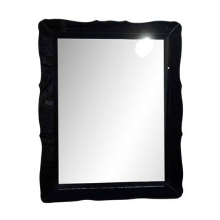 Vintage Black Glass Frame Mirror For Sale