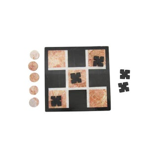 Vintage Mini Black Marble Tic-Tac-Toe Game Set